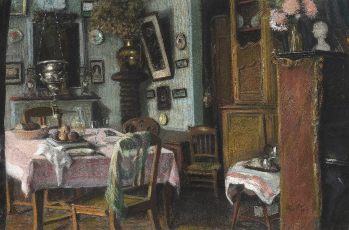 Camille Mauclair Interieur bourgeois, 1917 Pastel 30 x 47,5 cm Signé et daté en bas à droite