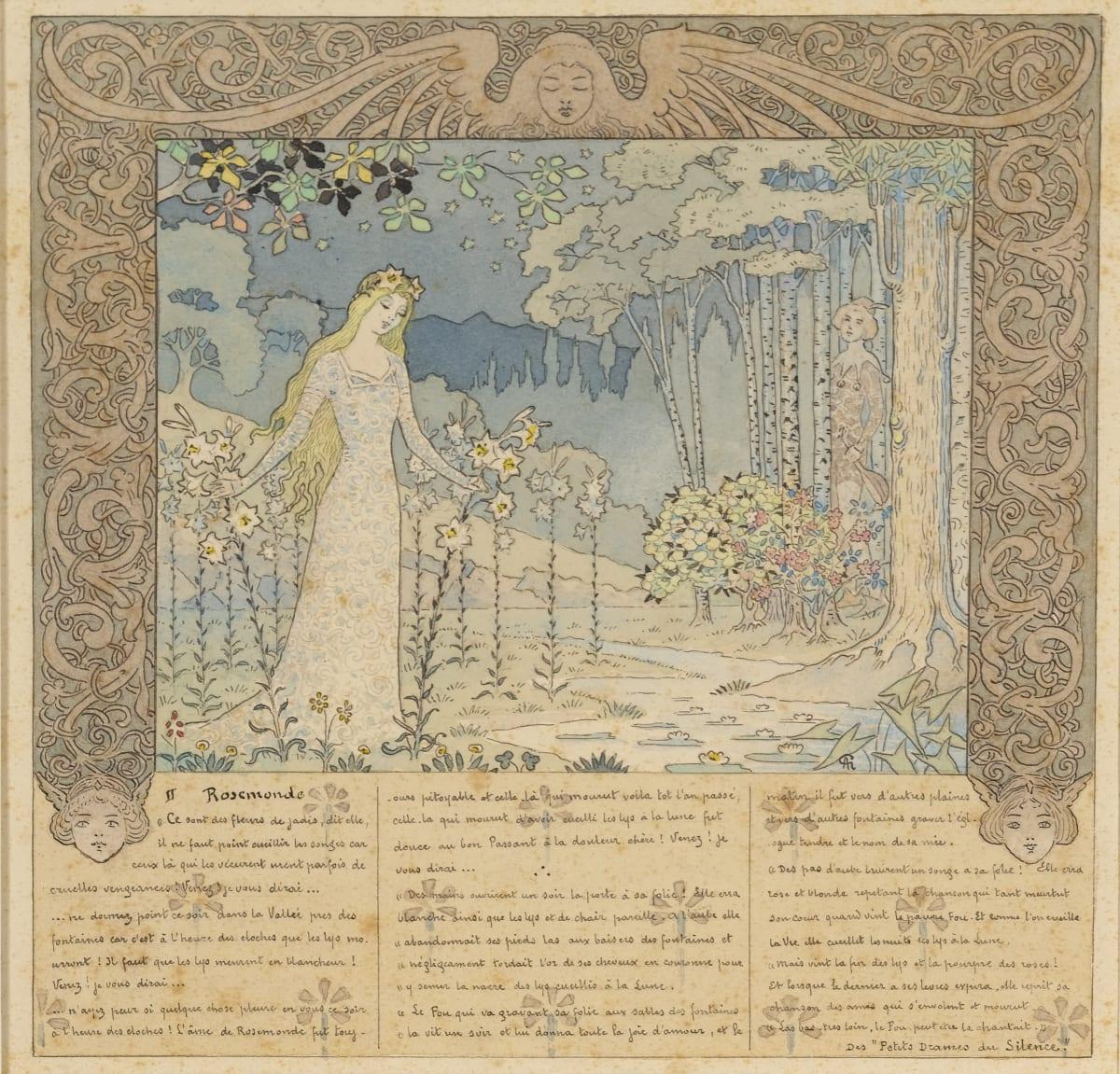 Alexandre Graverol Rosemonde Aquarelle et encre 17,5 x 17,5 cm monogrammé en bas à droite