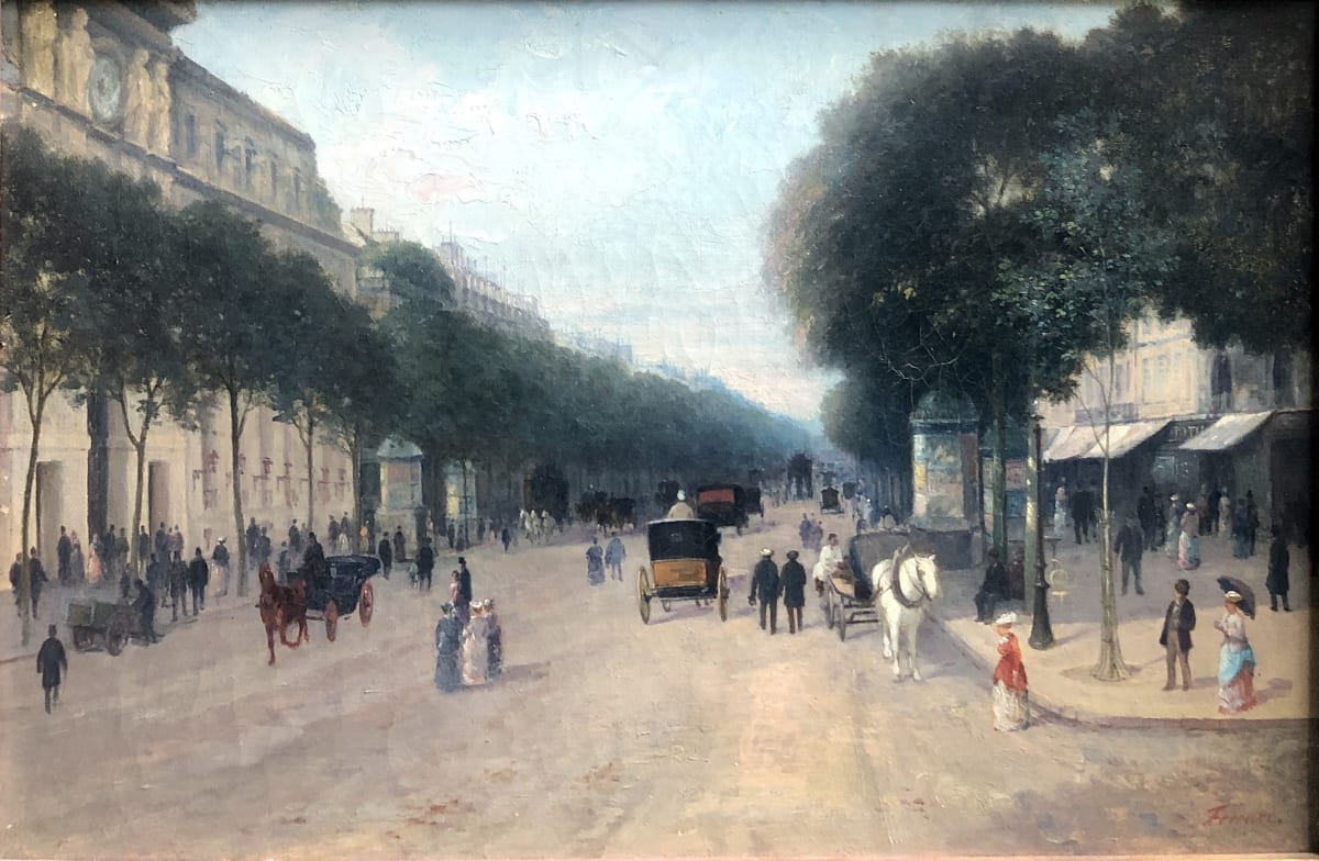 Giuseppe Ferrari Le Crédit Lyonnais, Boulevard des Italiens, circa 1890 Huile sur toile 27 x 41 cm Signé en bas à droite