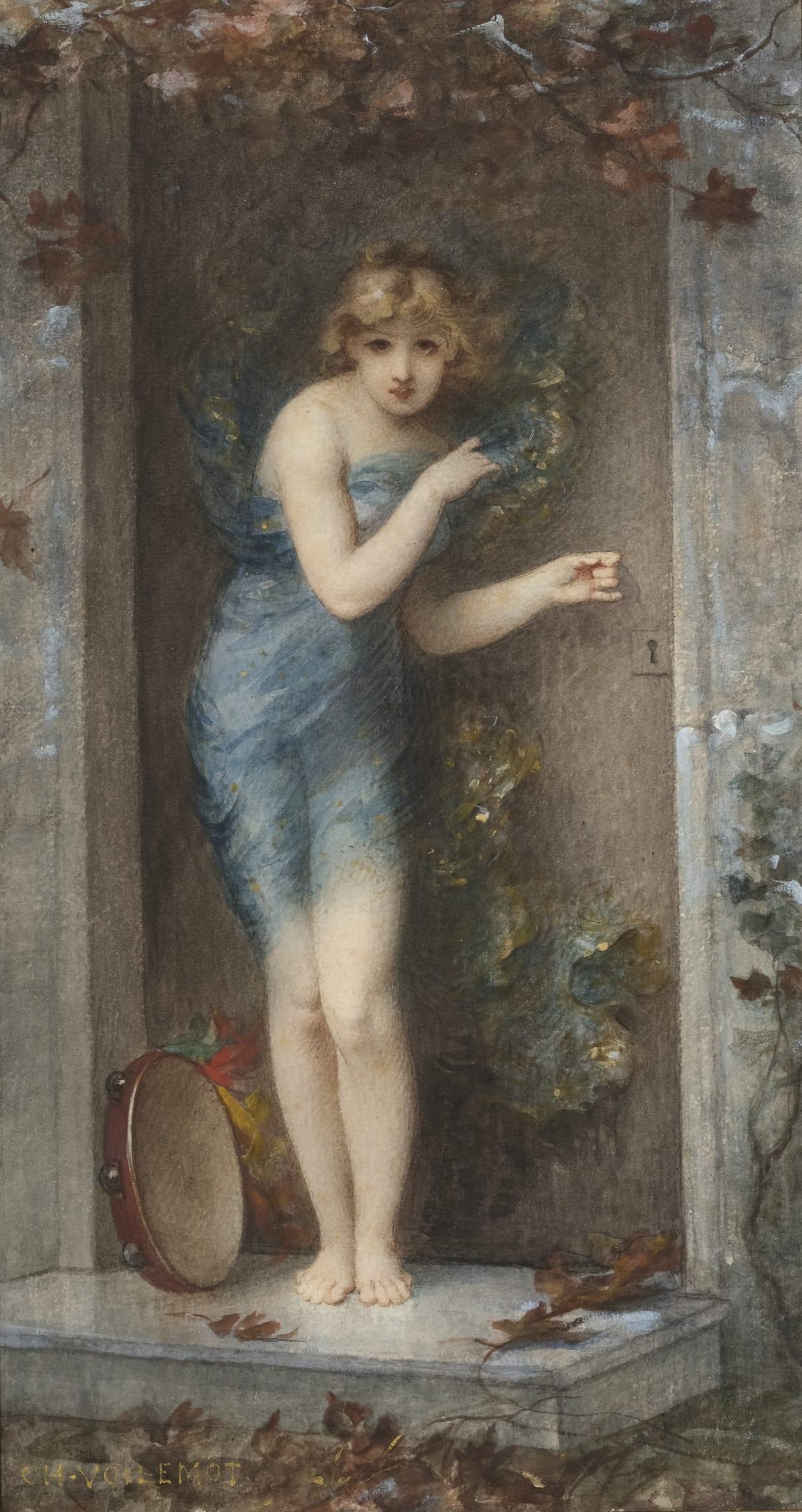 André Charles Voillemot La danse, circa 1870 Aquarelle 37 x 27 cm à la vue Signé en bas à gauche Aquarelle préparatoire pour le tableau conservé au Musée du Chateau de Compiègne.