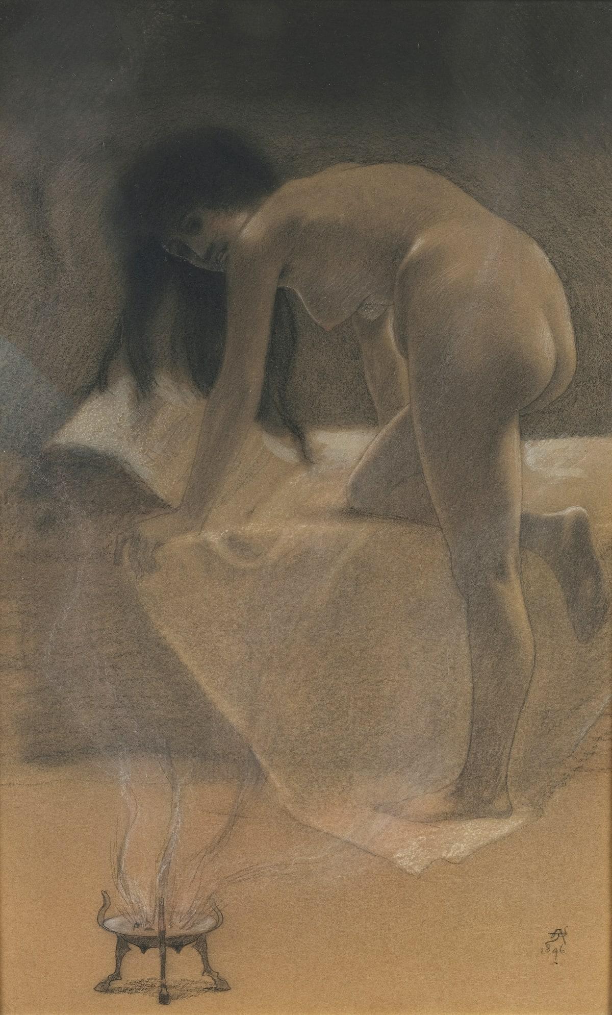 Armand Rassenfosse La Sorcière, 1896 Mine de plomb, fusain, pastel, craie blanche 42 x 26,5 cm Monogrammé et daté en bas à droite