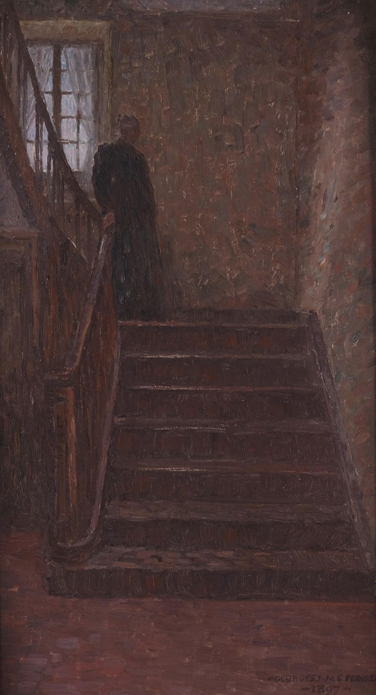 George Le Febvre La mère de l'artiste, 1897 Huile sur toile 61 x 34 cm Signé et daté en bas à droite