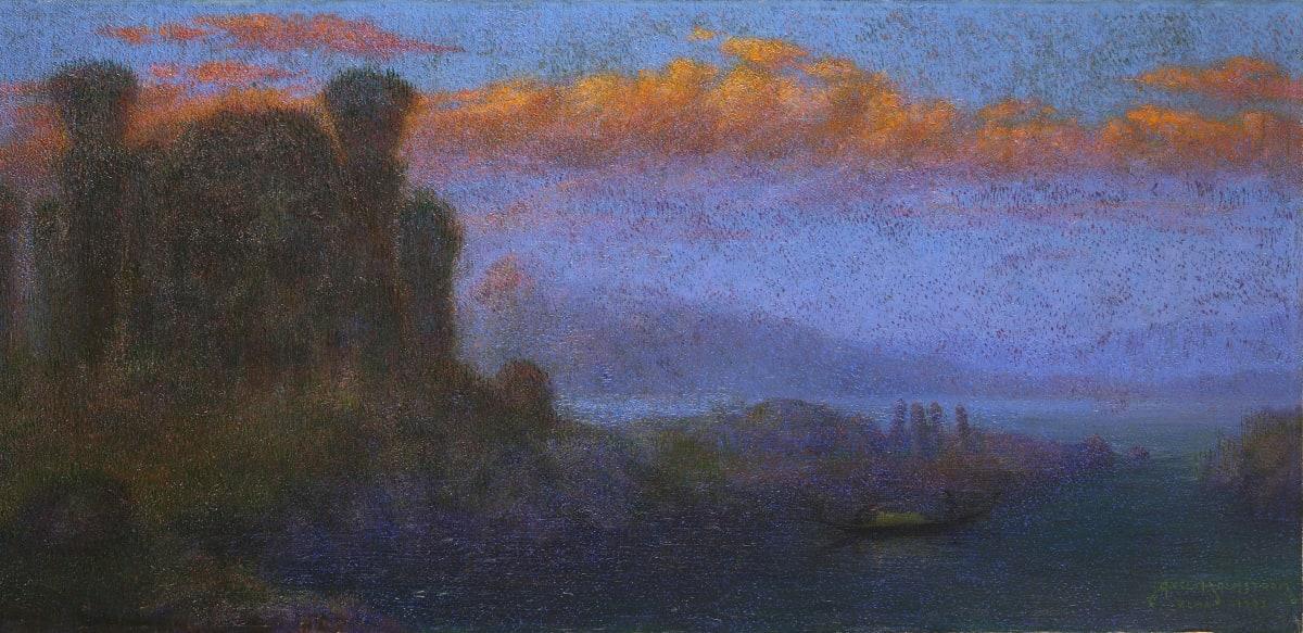 """Johan Axel Holmström Paysage, dit « Lumière du soir » [""""Irrsken""""], 1903 Huile sur toile marouflée sur panneau 62,7 x 131,7 cm Signé, situé et daté « Axel Holmström Roma 1903 » en bas à droite."""