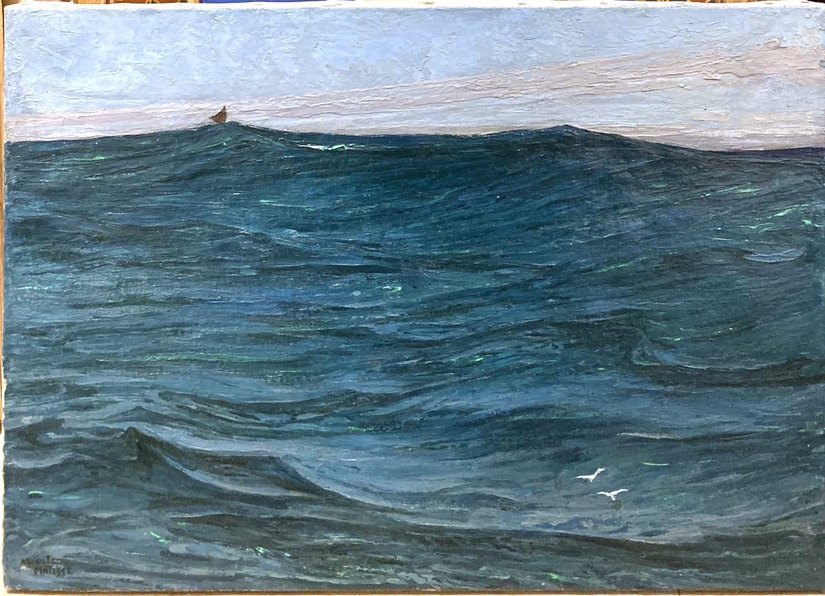 Auguste Matisse Bréhat - Vagues, circa 1920 Huile sur toile 61 x 43,5 cm Signé en bas à gauche et contresigné au dos de la toile