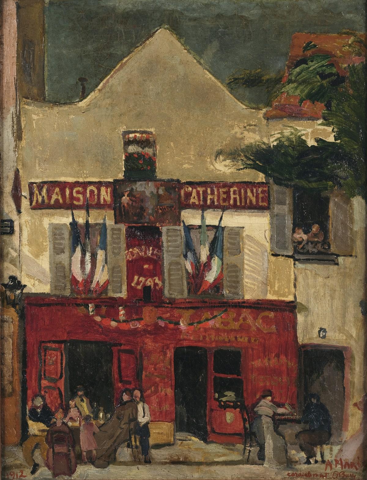 """Anselmo Bucci La Mère Catherine, 1912 Huile sur toile 65 x 49 cm Daté en bas à gauche. Signé et dédicacé """"A Marie Cordialement A Bucci"""""""