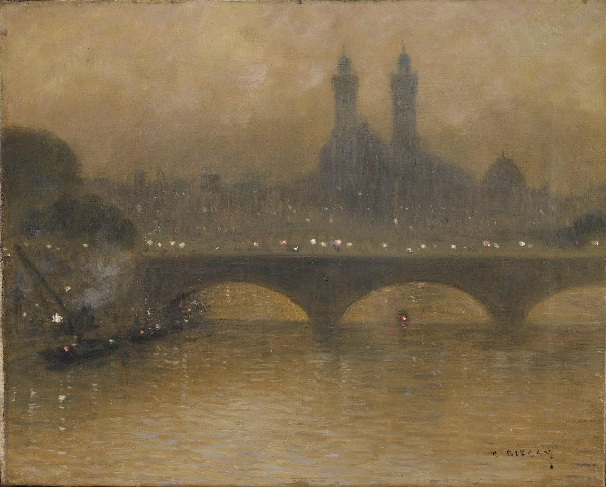 Gabriel Biessy Le Palais du Trocadéro, circa 1900 Huile sur toile 33 x 41 cm Signé en bas à droite