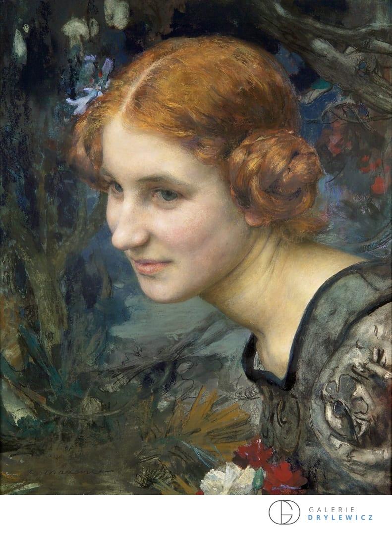 Edgard Maxence, Portrait de jeune femme, circa 1895