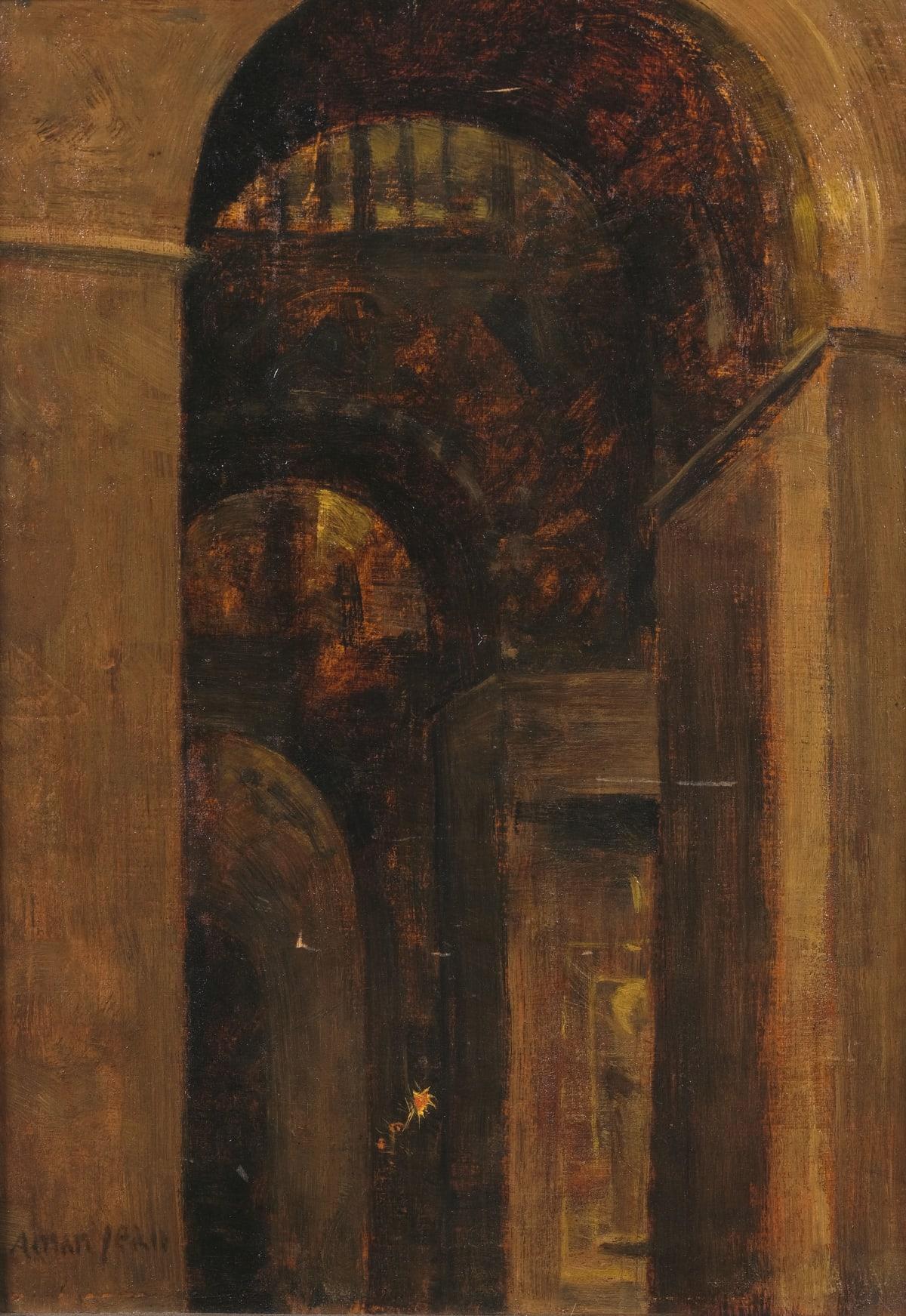 Edmond Aman-Jean Interieur d'église Huile sur panneau 35,5 x 25 cm Signé en bas à gauche