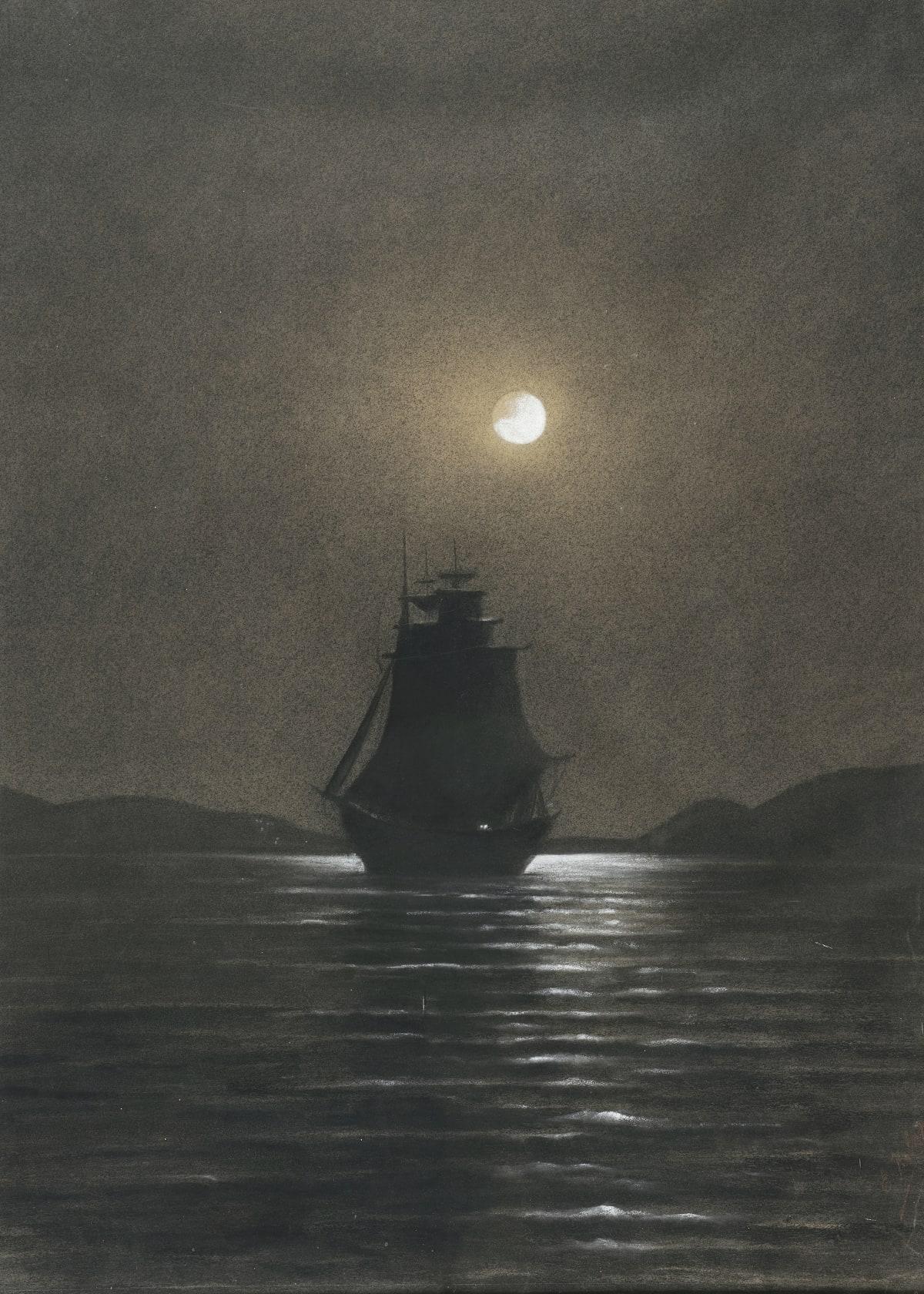 Ecole française de la fin du XIXème siècle Voilier au clair de lune, effet de nuit Fusain et craie blanche 88 x 63 cm Signé en bas à droite