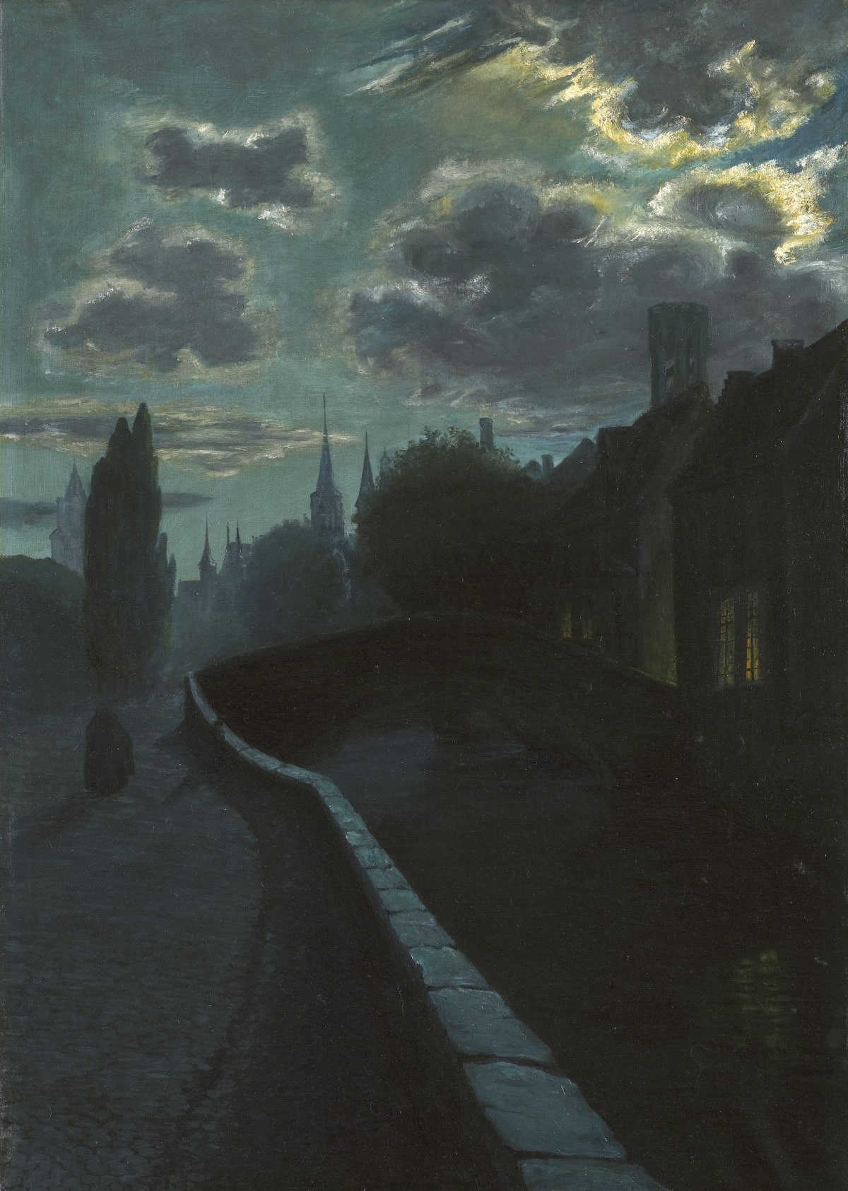 Ecole belge du début du XXème siècle Bruges-la-Morte, circa 1900 Huile sur toile 100 x 69,5 cm