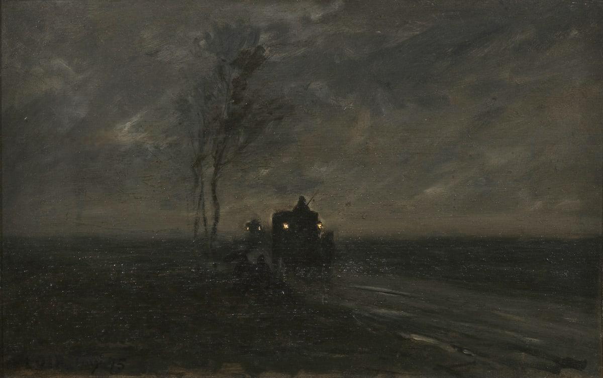 Luigi Loir Fiacre dans la nuit, 1878 Huile sur panneau 27,5 x 40 cm Signé et daté en bas à gauche
