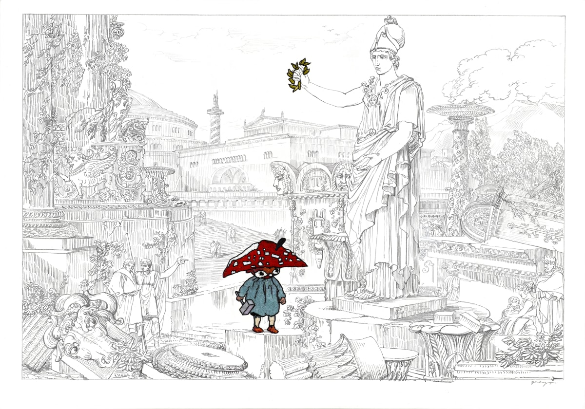 Vladimir Grig NAPI DESTROYER • НАПИ РАЗРУШИТЕЛЬ, 2019 Canvas, pencil, graphite, glass beads Холст, карандаш, графит, стеклярус 41 7/8 x 59 5/8 in 106.5 x 151.5 cm Series: Stories in pictures • Рассказы в картинках