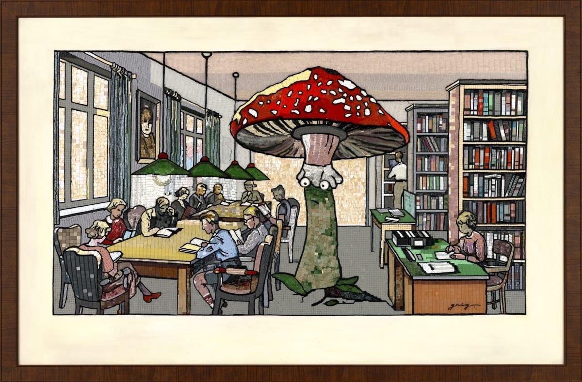 Vladimir Grig LIBRARY •БИБЛИОТЕКА, 2018 Canvas, acrylic, mosaic, wax, bugle, beads Холст, акрил, мозаика, воск, стеклярус, бисер 38 1/4 x 59 7/8 in 97 x 152 cm Series: Stories in pictures • Рассказы в картинках