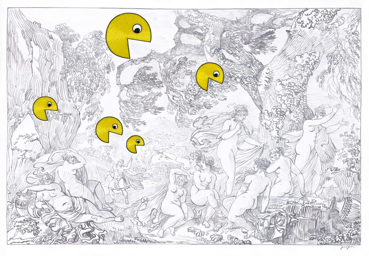Vladimir Grig PACMAN, 2019 Canvas, acrylic, glass beads Холст, акрил, стеклярус 41 7/8 x 59 5/8 in 106.5 x 151.5 cm Series: Stories in pictures • Рассказы в картинках