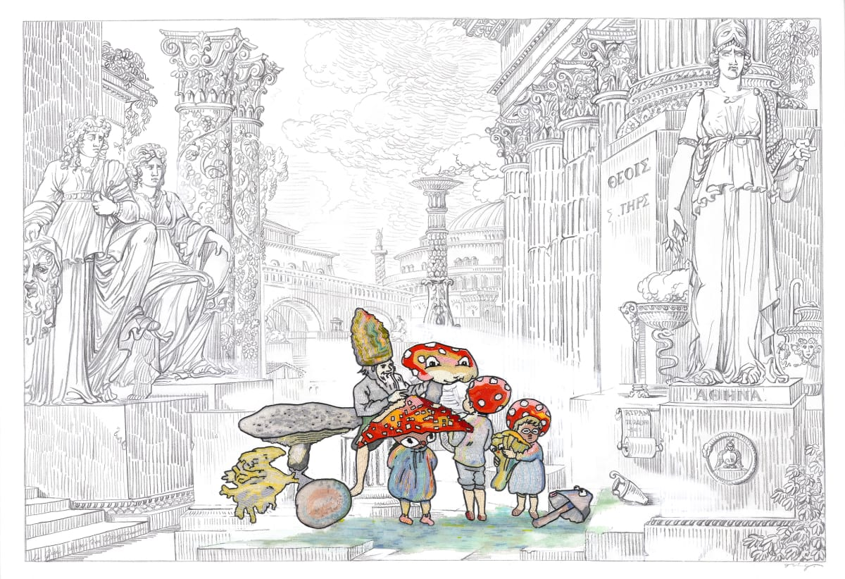 Vladimir Grig FAMILY-MUSHROOM, 2019 Canvas, pencil, graphite, glass beads Холст, карандаш, графит, стеклярус 41 7/8 x 59 5/8 in 106.5 x 151.5 cm Series: Stories in pictures • Рассказы в картинках