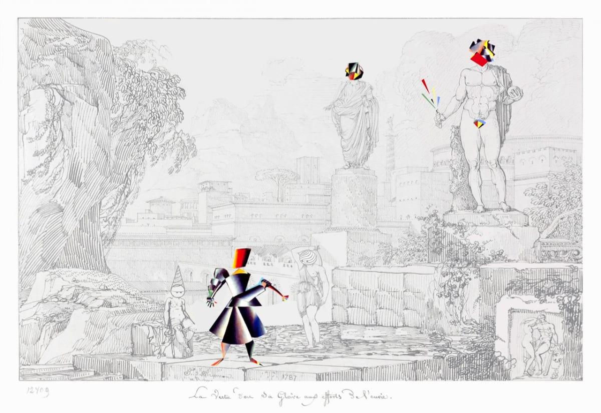 Vladimir Grig ZOOM , 2019 Canvas, pencil, graphite, glass beads Холст, карандаш, графит, стеклярус 41 3/8 x 59 1/2 in 105 x 151 cm Series: Stories in pictures • Рассказы в картинках