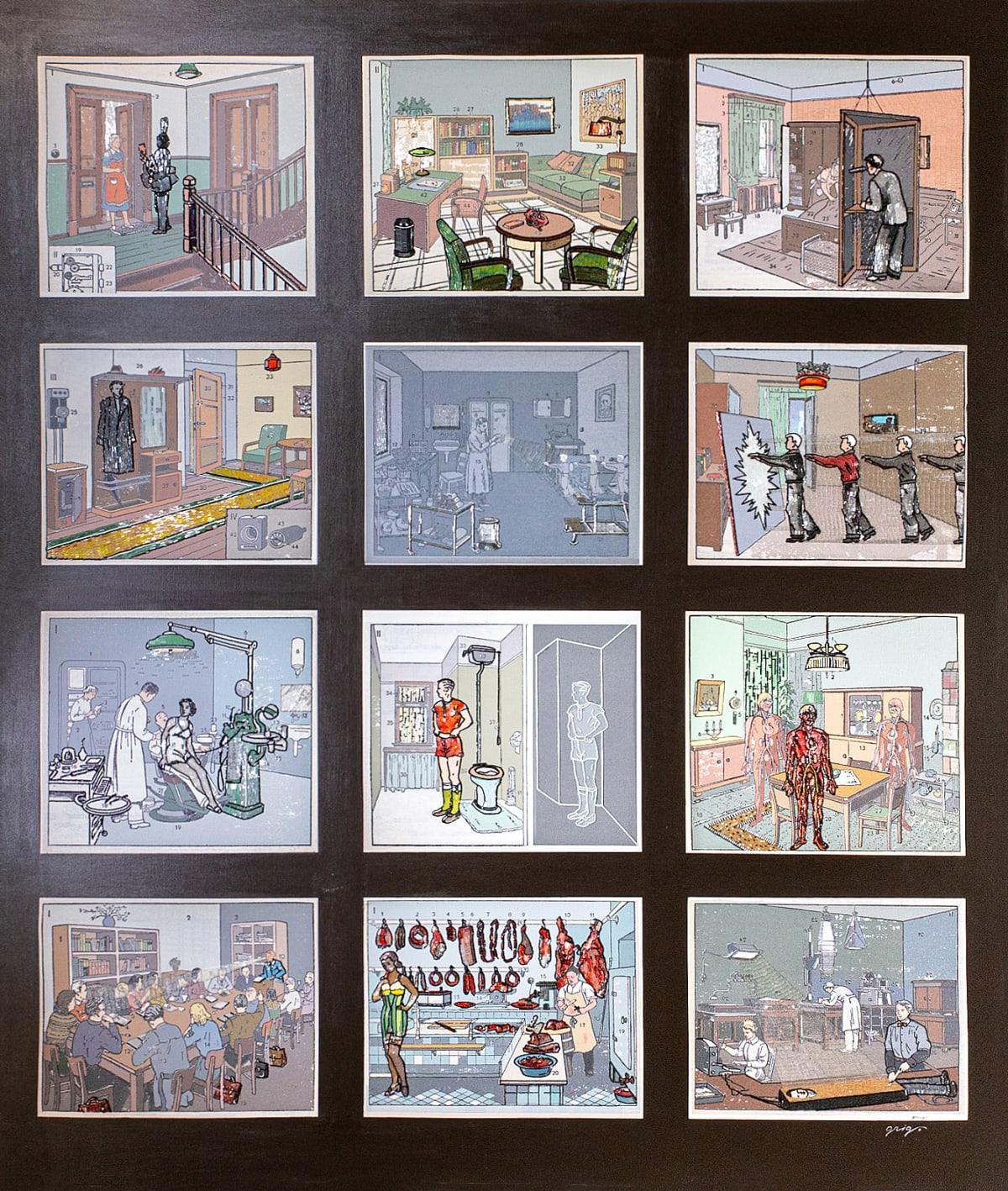 Vladimir Grig 13 ROOMS II • 13 КОМНАТ II, 2018 Canvas, acrylic, mosaic, print, glass beads Холст, акрил, мозаика, печать, стеклярус 79 1/2 x 67 3/4 in 202 x 172 cm Series: Stories in pictures • Рассказы в картинках