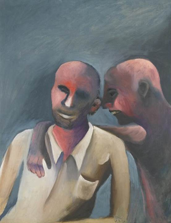 Bhupen Khakhar 1934-2003Gossip Oil on canvas 63.2 x 49.5 cm 24 7/8 x 19 1/2 in