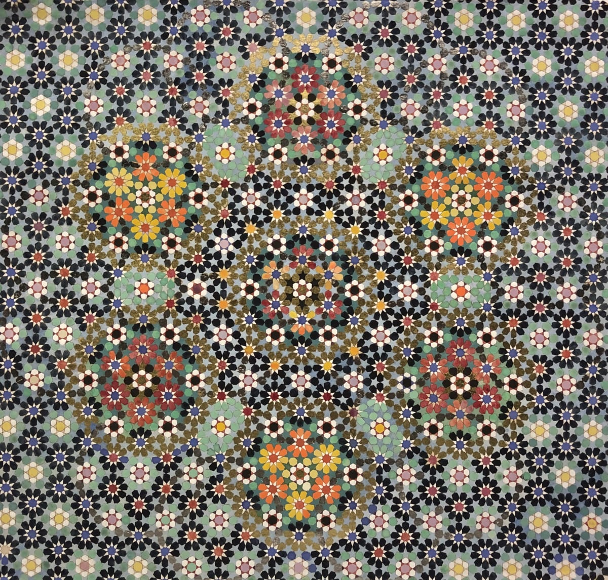 Elisabeth Deane Little Waves, 2020 Italian gold leaf, platinum leaf, natural pigments and Arabic gum on handmade Indian hemp paper 52.6 x 49.6 cm 20 3/4 x 19 1/2 in