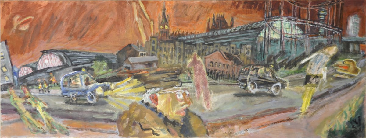 Timothy Hyman b. 1946Walking behind the Stations, 2014 Oil on canvas 38 x 100 cm 15 x 39 3/8 in