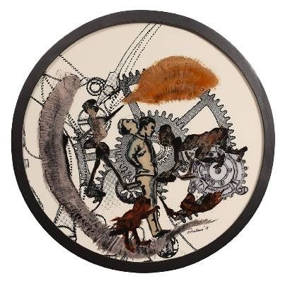 Nalini Malani b. 1946Time, 2013 Reverse painted acrylic, ink, and enamel on acrylic sheet on specially printed Hahnemuhle Bamboo paper diameter 45.7 cm (18 in)