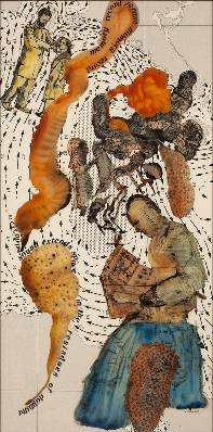 Nalini Malani b. 1946Connections: Memory Record/Erase, 2013 Reverse painted acrylic, ink, and enamel on acrylic sheet on specially printed Hahnemuhle Bamboo paper 152.4 x 76.2 cm 60 x 30 in