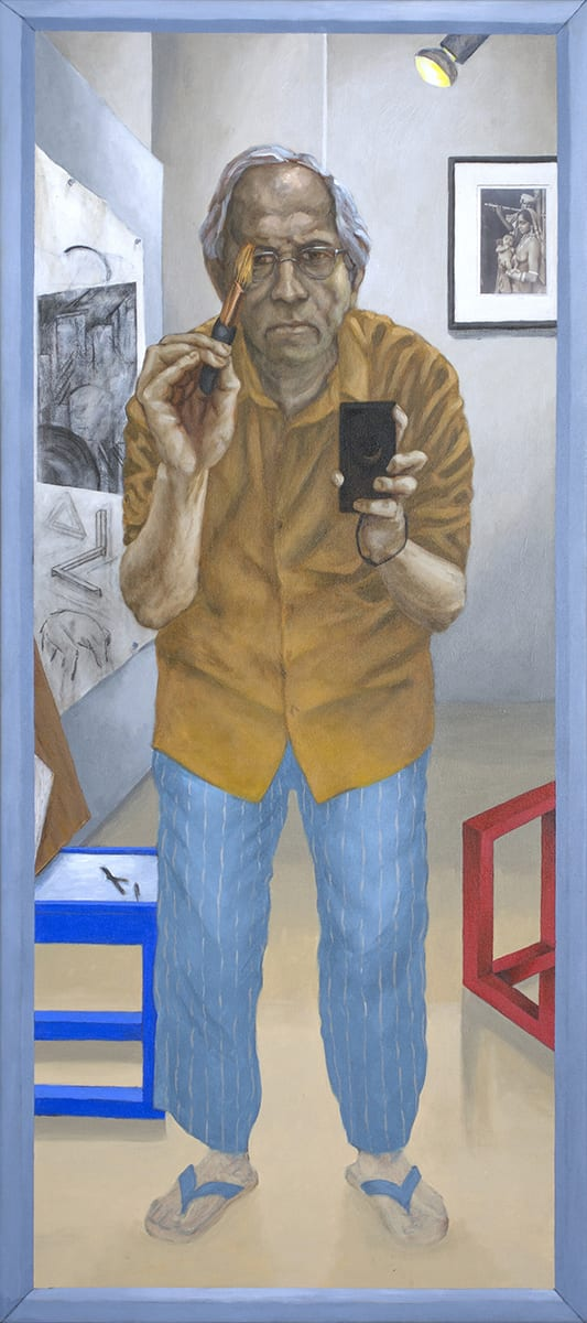Sudhir Patwardhan b. 1949Self-portrait with Brush and Camera', 2016 Acrylic on Canvas 137.1 x 60.9 cm 54 x 24 in