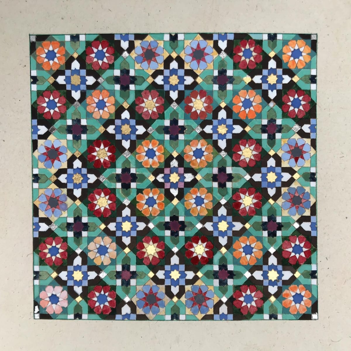 Elisabeth Deane b. 1985Amal, 2020 Italian gold leaf, palladium leaf, natural pigments and Arabic gum on handmade Indian hemp paper 15 x 15 cm 5 7/8 x 5 7/8 in