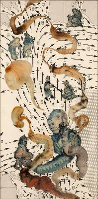 Nalini Malani b. 1946Connections: But to What Purpose, 2013 Reverse painted acrylic, ink, and enamel on acrylic sheet on specially printed Hahnemuhle Bamboo paper 152.4 x 76.2 cm 60 x 30 in