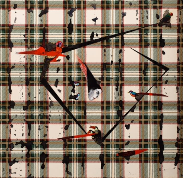 Anju Dodiya b. 1964Fire Bird, 2016 Acrylic, watercolour and vinyl stickers on wallpaper 41.5 x 40.6 cm 16 3/8 x 16 in