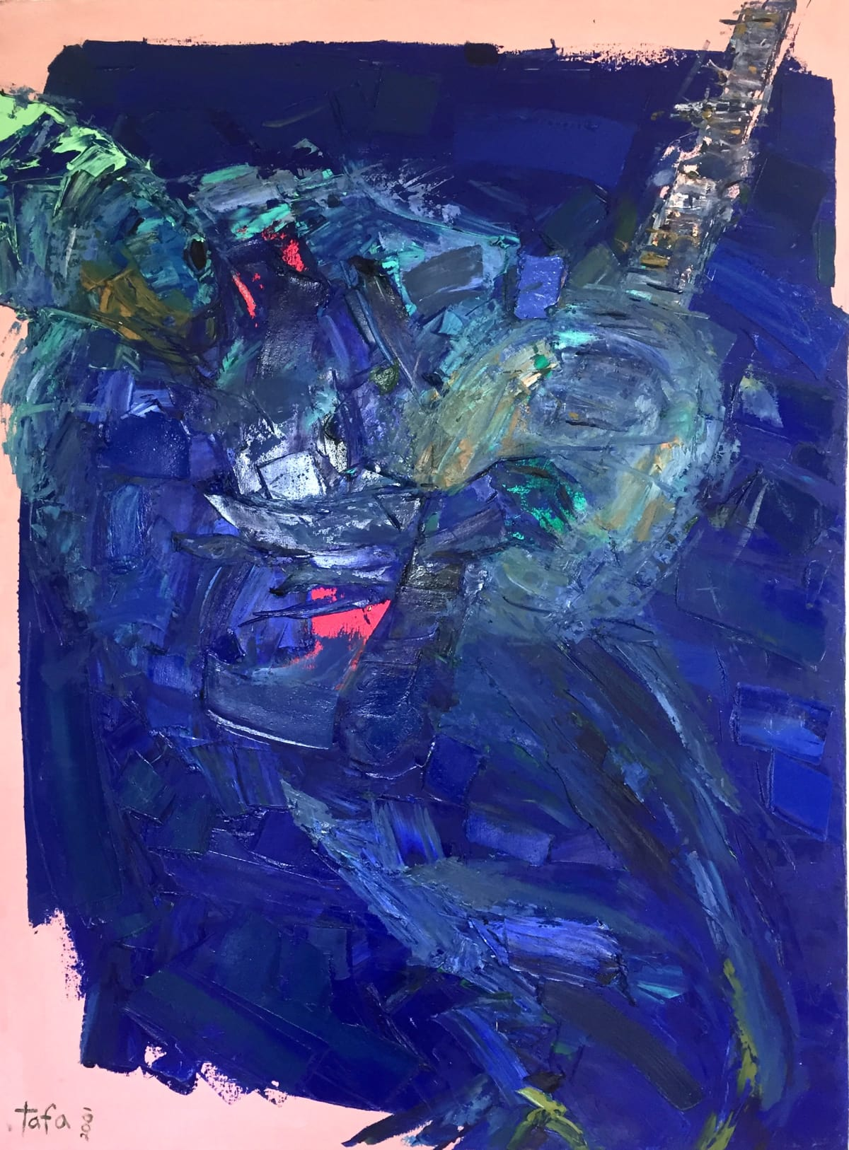 TAFA Banjo Blues III, 2001.0 Oil, Acrylic on Canvas 40 x 29 3/4