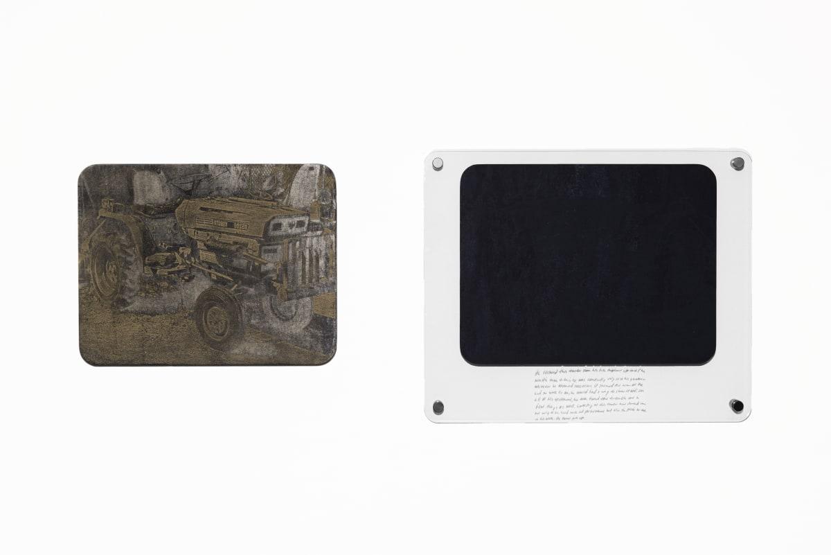"Jonathan Wright His Tractor Laser Engraved Woodcut Matrix: 14""x 18"" Framed Print: 22"" x 26"""