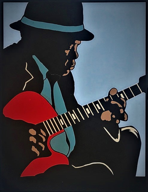 Sylvester McKissick John Lee Hooker, 2008 Window film/glass 16 x 20