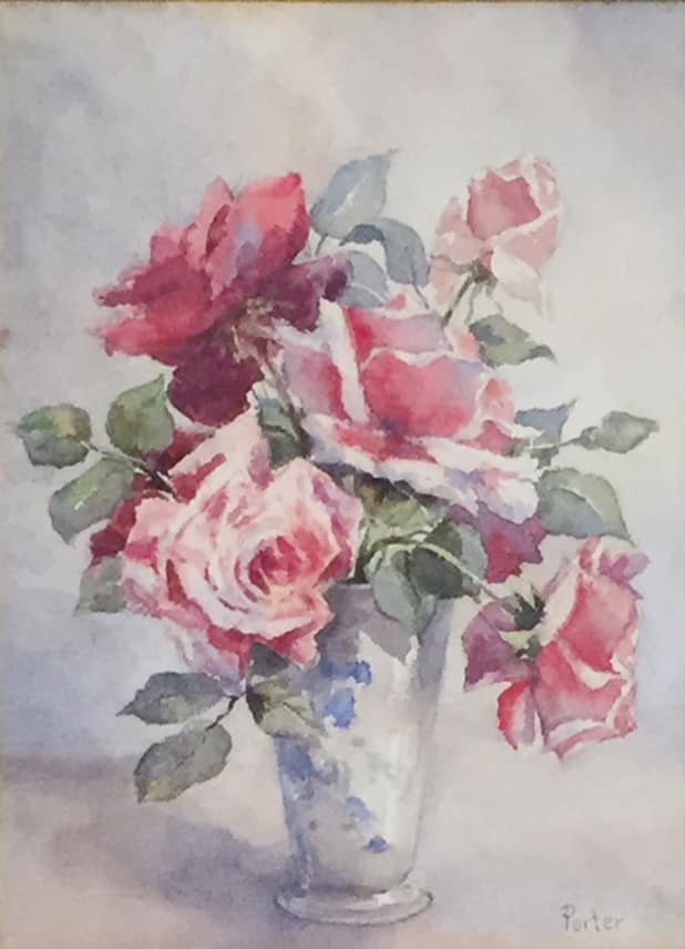 Charles Ethan Porter Pink and Red Roses in Clear Vase, c.1880 Watercolor 13 x 10