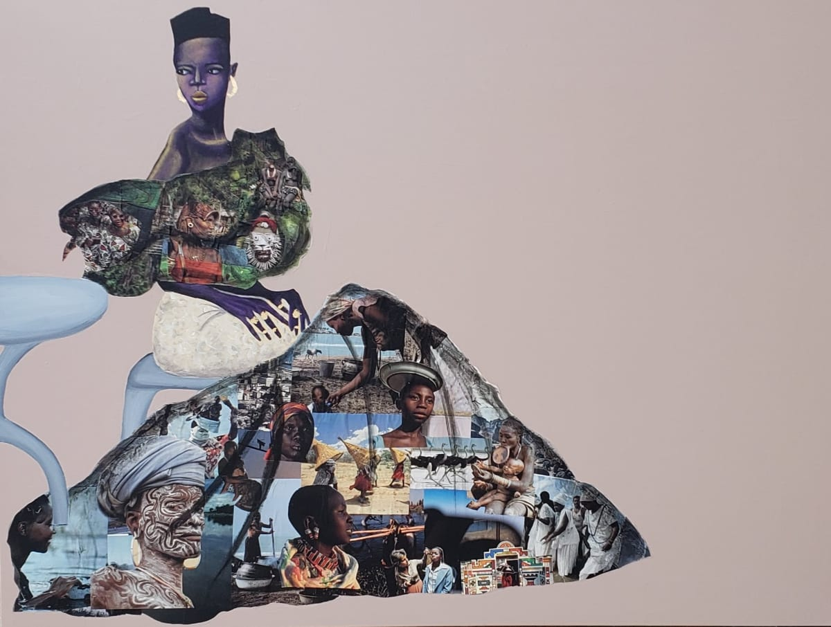Abi Salami She Go Say I Be Lady O III, 2019 Collage, acrylic and gold leaf on canvas 36 x 48 x 1.5 inches