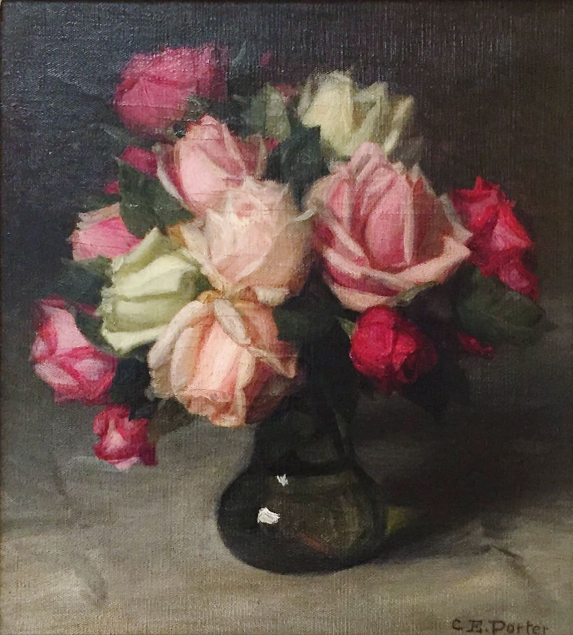 Charles Ethan Porter Roses in dark green vase Oil on Canvas 12 x 11