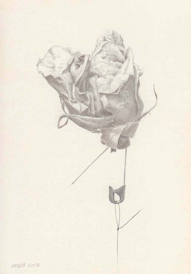 Marjorie Williams-Smith Rose and Pin, 2013` SIlverpoint 5 1/2 x 4
