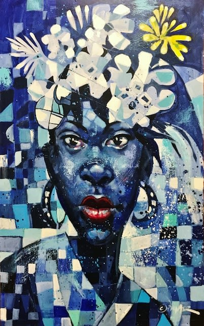 Charly Palmer She Blue Acrylic on Canvas 48 x 30