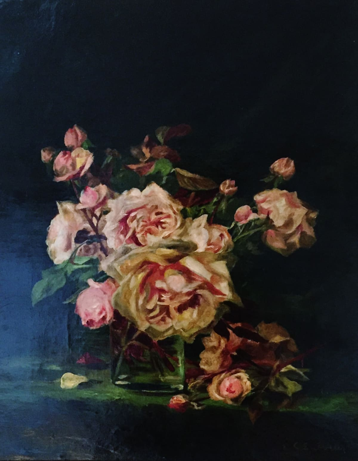 Charles Ethan Porter Untitled (Still Life-Pink Roses), c.1880 Oil on Canvas Framed: 21 1/2 x 25 1/2 x 2 1/4 Unframed: 19 x 15 1/4