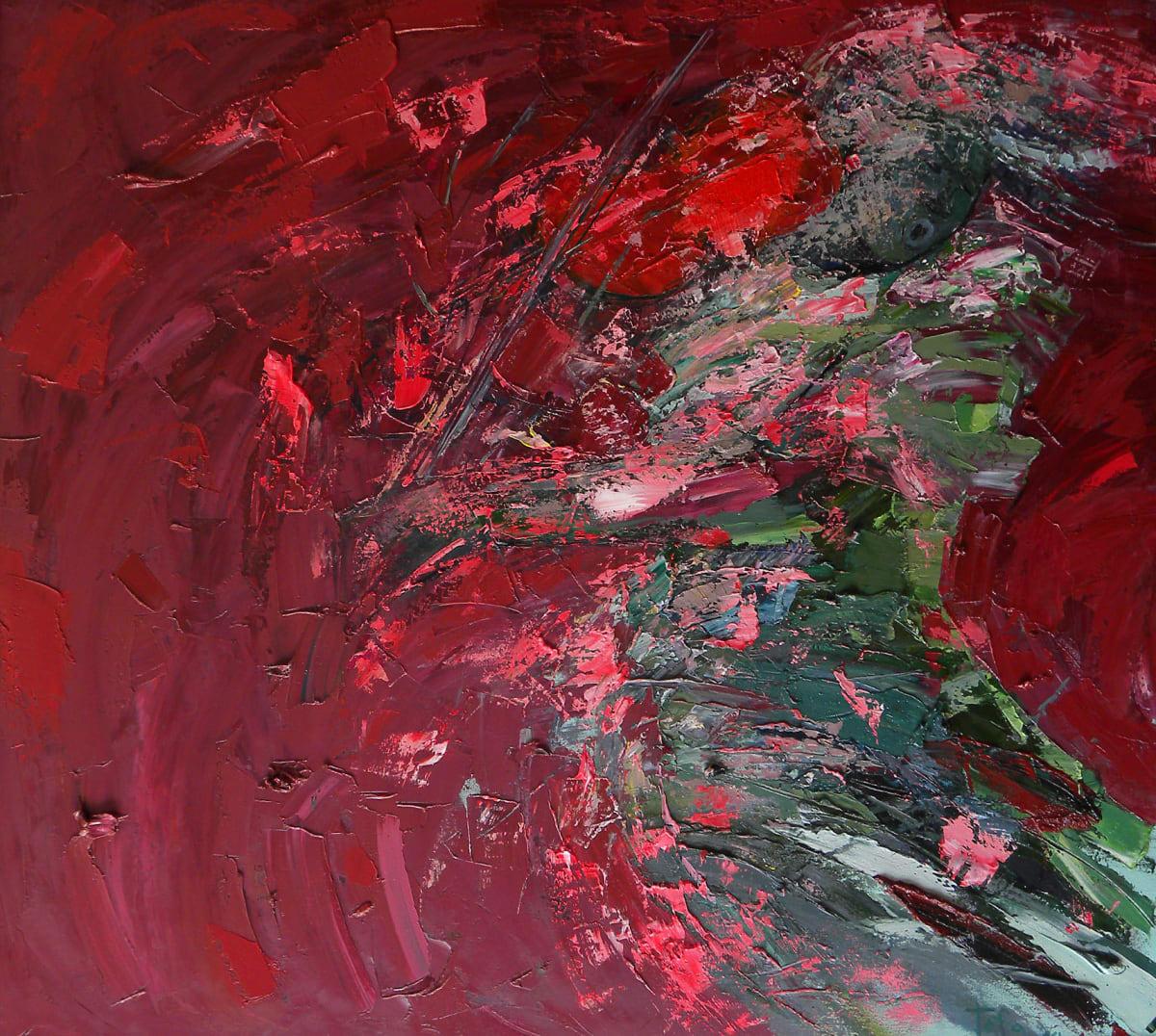 TAFA Violin Red Oil on Canvas 43 1 /2 x 40