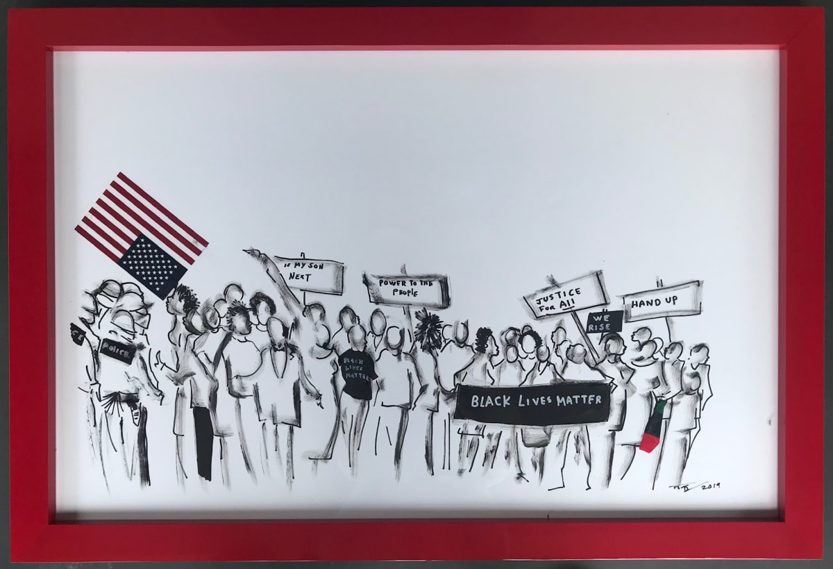 Frank Frazier Damn Right Our Lives Matter (Killing Us Soft With Their Song), 2019 Shoe Polish 24 x 43 1/2
