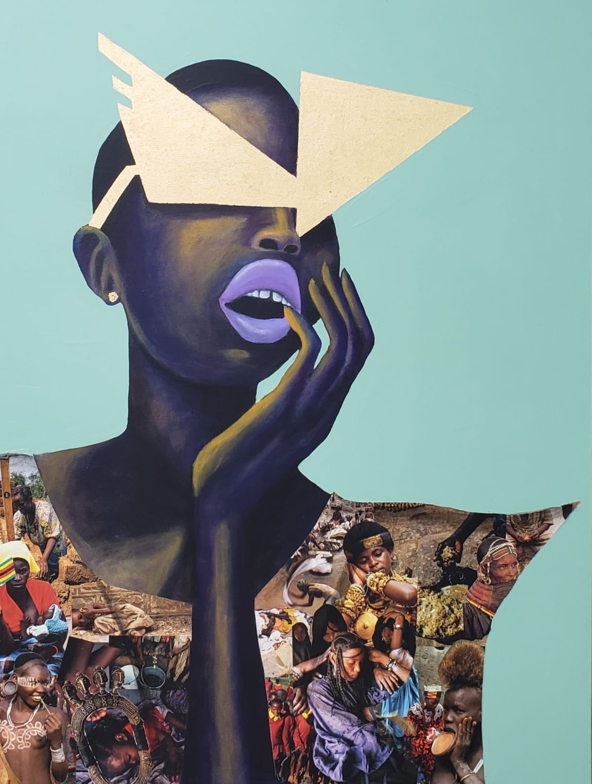 Abi Salami African Future Looks Bright, 2019 Collage, acrylic and gold leaf on canvas 40 x 30 x 1.5 inches