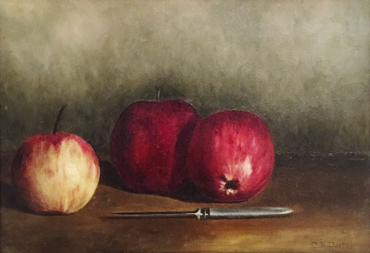Charles Ethan Porter 3 Apples with Knife, 1887 Oil on Board Framed: 12 x 16 x 1 1/2 Unframed: 8 1/2 x 12 1/4