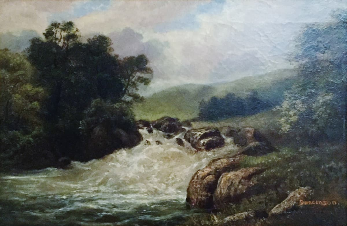 Robert Scott Duncanson Untitled (Trees with Rushing River), c. 1864 Framed: 27 1/2 x 20 1/2 x 3 Unframed: 14 x 21