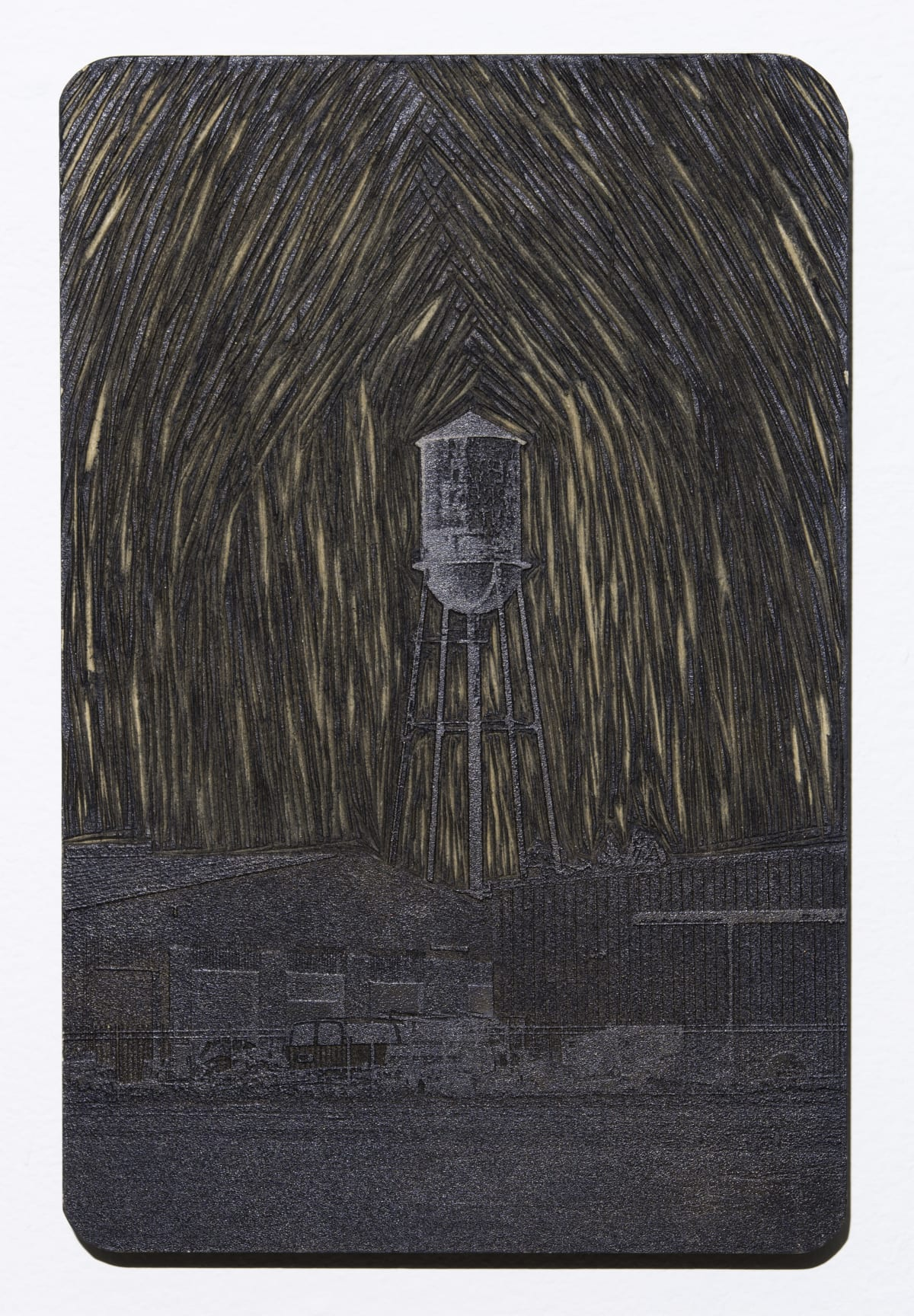 """Jonathan Wright The Water Tower Laser engraved Stonehenge Paper Framed Print: 30 1/2"""" x 42 1/2"""""""
