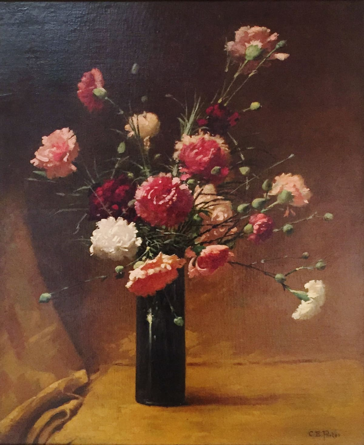 Charles Ethan Porter Pink and White Chrysanthemums in Shiny Dark Blue Vase, 1882 Oil on Canvas Framed: 26 x 30 x 2 Unframed: 19 1/2 x 23 1/12