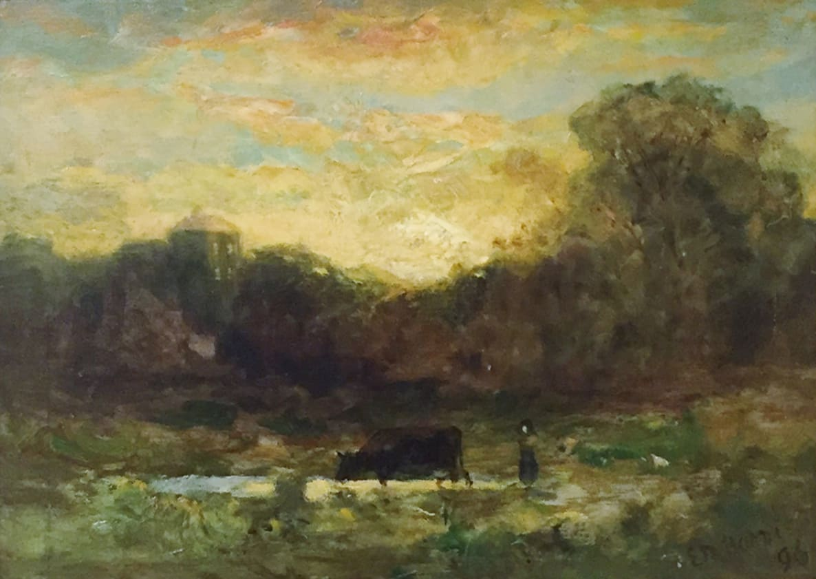Edward Mitchell Bannister Landscape with a person and cow, c.1896 Oil on Board 9 1/4 x 14