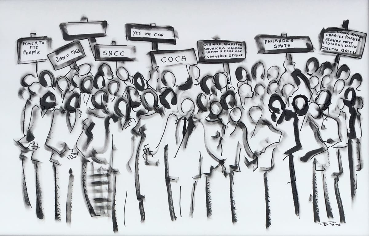 Frank Frazier Power of the People, 2013.0 Mixed Media Shoe Polish/Ink on Paper 26 x 40