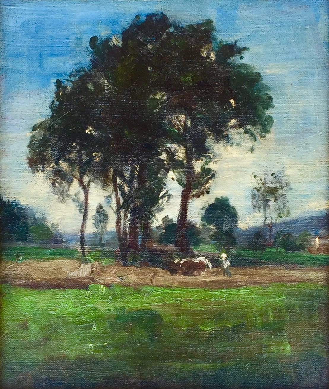 Edward Mitchell Bannister Landscape trees in the middle, 3 cows on right, 1888 Oil on Canvas Framed: 18 x 16 x 2 Unframed: 13 x 11