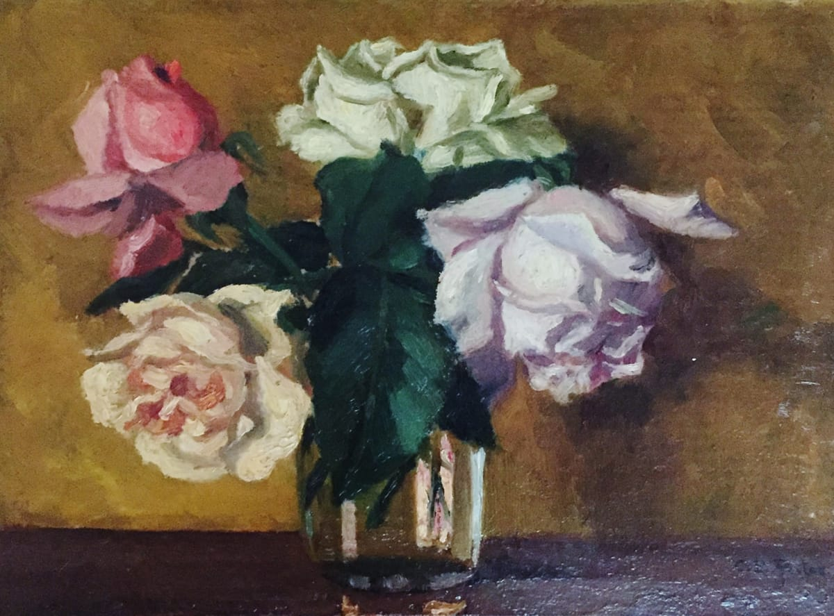 Charles Ethan Porter Untitled, 4 Roses and Clear Vase, 1854 Oil on Board 10 x 14